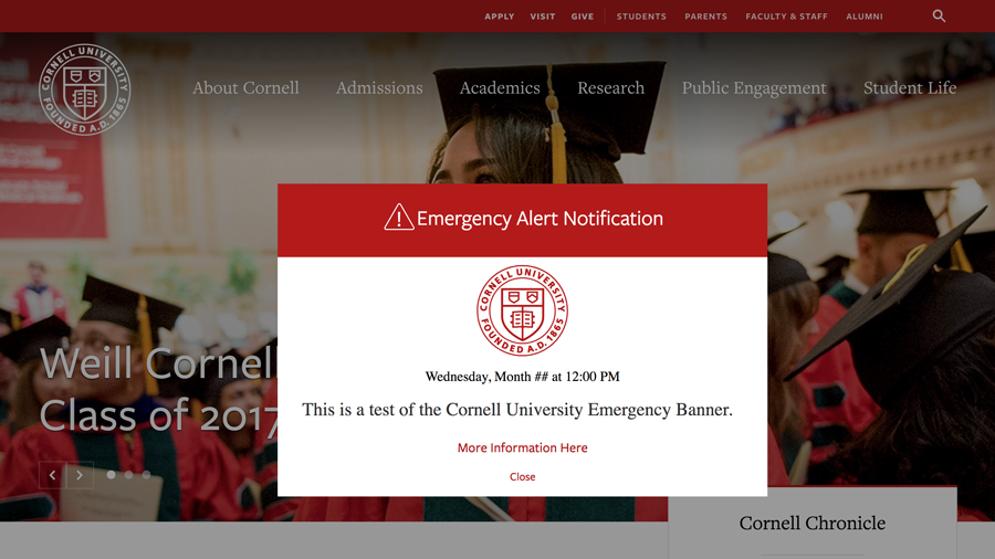 An example of the Cornell University Emergency Banner