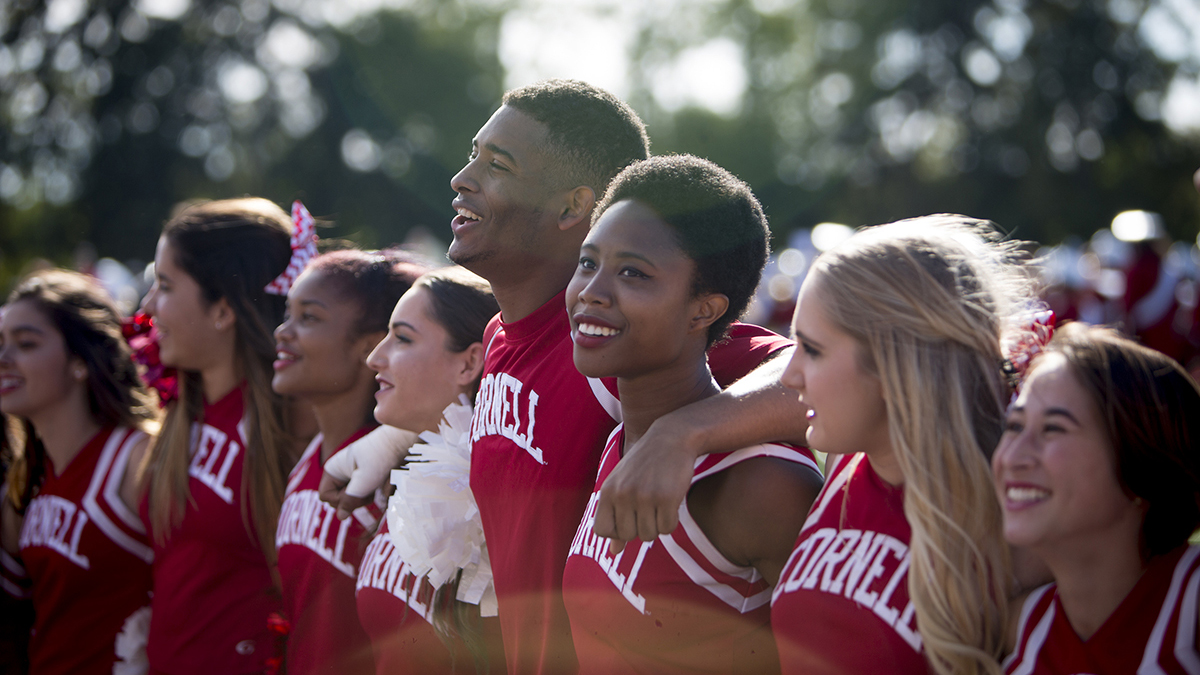 Cornell cheerleaders at the 2016 Employee Celebration.