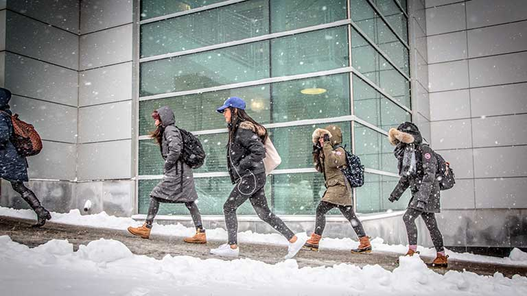 Five female students walk across campus in the snow